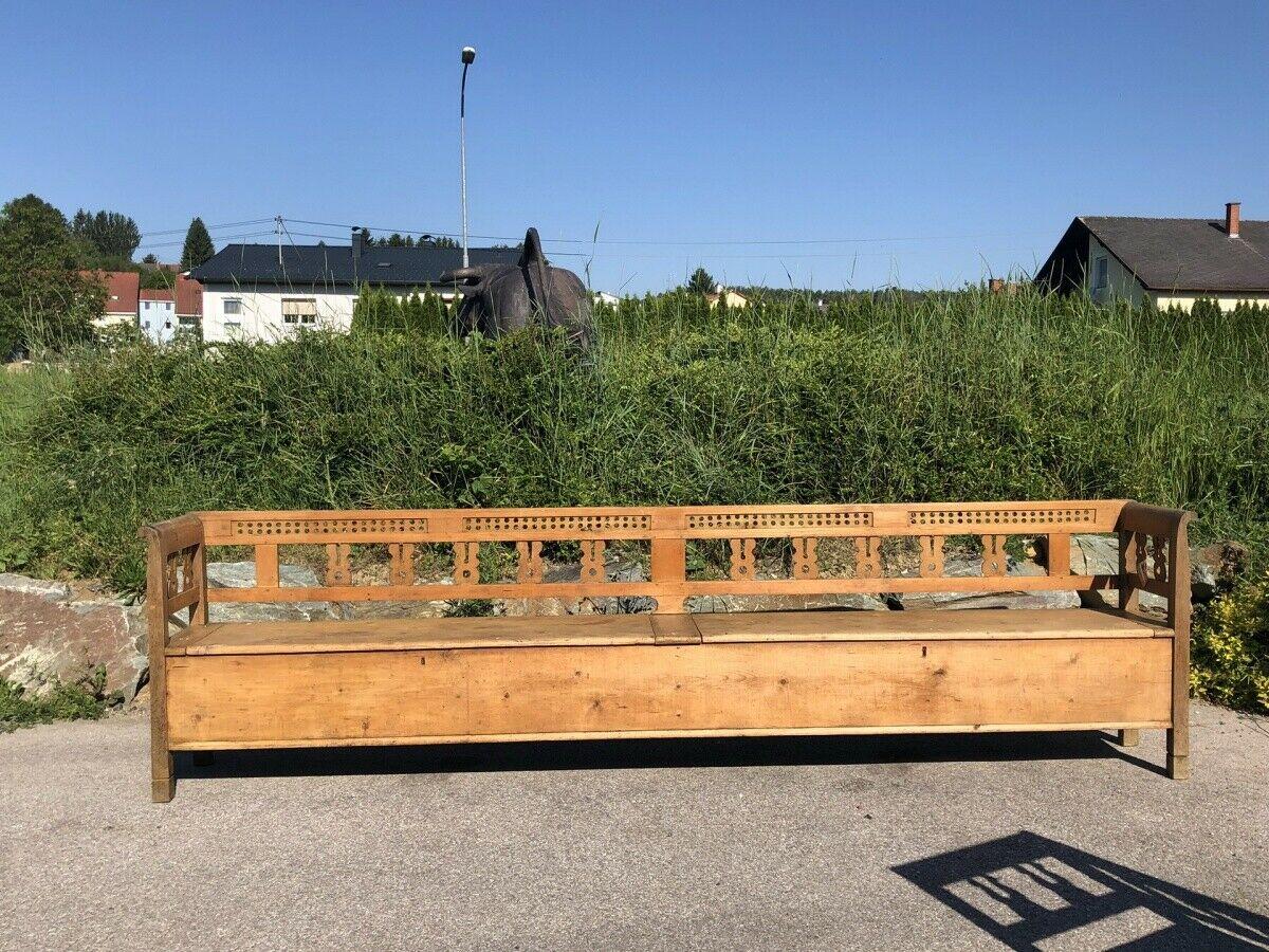 Urige alte originale  Truhenbank Küchenbank Bauernmöbel 353cm Heu1002 0
