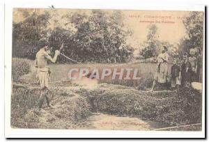 Vietnam Cochinchine Ansichtskarte AK Arrosage des rizieres