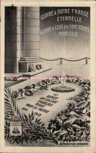 Ansichtskarte AK Gloire a notre France eternelle Soldat francais inconnu 1914 1918 Militaria