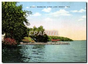 Ansichtskarte AK Scenic Shoreline Along Lake Geneva Wis