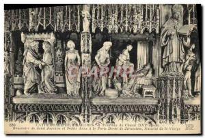 Ansichtskarte AK Cathedrale de Chartres Pourtour du Choeur XVI siecle Rencontre de Saint Joachim et Sainte Anne a