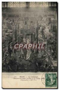 Ansichtskarte AK Reims La Cathedrale Rencontre de Saint Joachim et de Sainte Anne Tapisserie