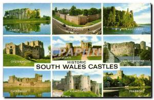 Moderne Karte Historic South Wales Castles Carew Cardiff Laugharne Oystermouth Manorbier