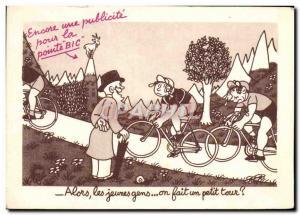 Ansichtskarte AK Alors Les Jeumes gens On Fait Um Petit Tour Publicite Bic Velo Cycle