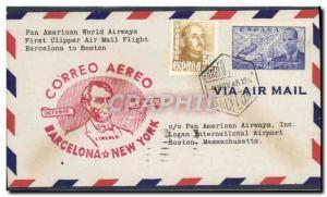 Lettre 1er vol Barcelona Boston 9 11 1948