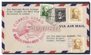 Lettre 1er vol Barcelona Lisbon 10 11 1948