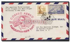 Lettre 1er vol Barcelona New York 9 11 1948