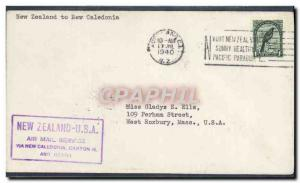 Lettre 1er vol New Zealand to New Caledonia 19 7 1940