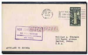 Lettre 1er vol New Zealand Auckland to Noumea 19 7 1940