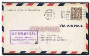 Lettre 1er vol New Zealand USA San Franisco 17 7 1940