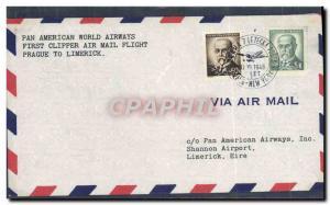 Lettre 1er Vol Tchecoslovaquie Prague to Limercik Irland Ireland Eire 17 6 1946