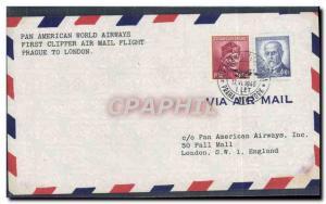 Lettre 1er Vol Tchecoslovaquie Prague to London 17 6 1946