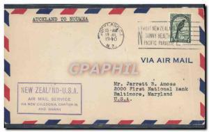 Lettre Nouvelle Zelande 1st flight Auckland to Noumea 19 7 1940