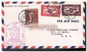 Lettre Portugal 1st flight Lisbon to Trinidad 6 2 1942