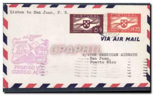 Lettre Portugal 1st flight Lisbon to San Juan 8 2 1941