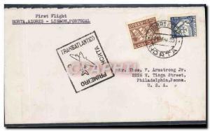 Lettre Portugal Horta Azores to Lisboa 21 5 1939