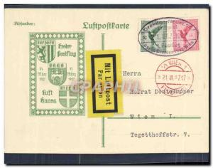 Lettre Vol Allemagne Wien 21 3 1927