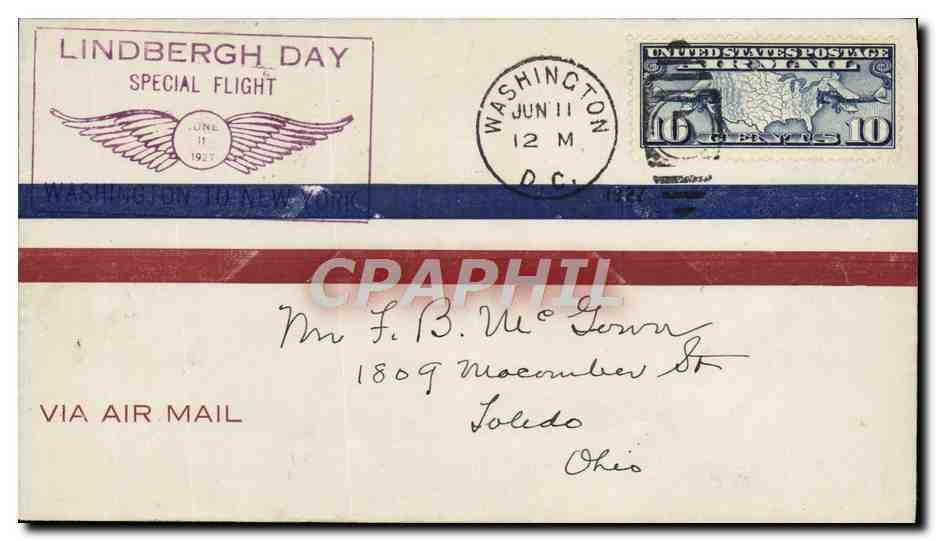 Lettre Etats Unis Lindbergh Day Washington 11 6 1927 0