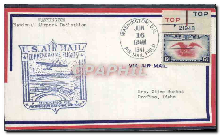 Lettre Etats Unis Washington Aurport Dedication 16 6 1941 0