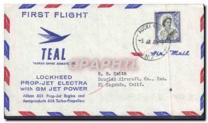 Lettre Etats Unis 1st Flight Lockheed Prop Jet Electra GM Jet Power Auckland 5 1 1960