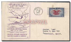 Lettre Etats Unis 1st Flight 19 5 1938 Contra Costa California