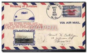Lettre Etats Unis 1st Flight Kitty Hawk N Carolina 19 5 1938