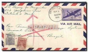 Lettre Etats Unis Vol Detroit to Brazil 1 11 1946