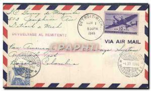 Lettre Etats Unis Detroit to Bogota Colombia 1 11 1946