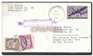 Lettre Etats Unis Washington to Bolivia 1 11 1946