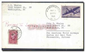 Lettre Etats Unis Washington to Surinam 1 11 1946