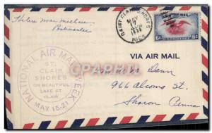 Lettre Etats Unis National Air Week St Claires Shores 17 5 1938