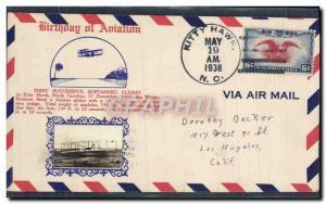Lettre Etats Unis 1st Flight Kitty Hawk 19 5 1938