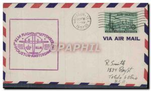 Lettre Etats Unis KLM Flight Houston Amsterdam 6 9 1957