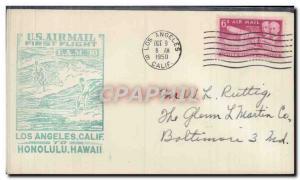 Lettre Etats Unis Los Angeles Honolulu Hawai FAM 30 9 10 1950