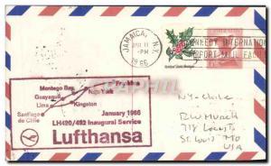 Lettre Etats Unis Jamaica Lufthansa 1 1966