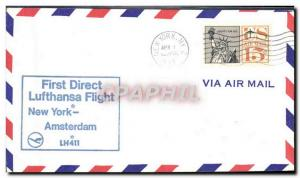Lettre Etats Unis Lufthansa New York Amsterdam 1 4 1967