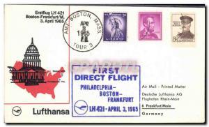 Lettre Etats Unis 1st Flight Philadelphia Boston Frankfurt 3 4 1965