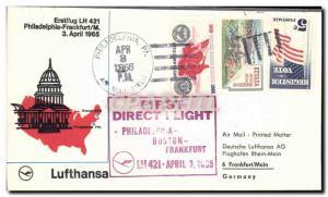 Lettre Etats Unis Philadelphia Frankfurt 3 4 1965
