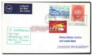 Lettre Nations Unies New York Frankfurt Boeing 747 1st flight 26 4 1970