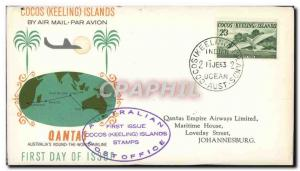 Lettre Cocos Keeling Islands Qantas 11 6 1963