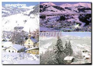Moderne Karte Megeve Le Calvaire Vue generale et le Mont Blanc Le telepherique du Mont d'Arbois