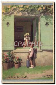 Ansichtskarte AK Fantaisie Illustrateur Redon Enfants Un brin de causette