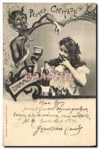 Ansichtskarte AK Fantaisie Femme Peches Capitaux Gourmandise
