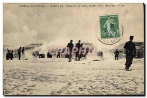 Ansichtskarte AK Militaria Artillerie de forteresse Ecoles a feu Pieces de 155 court Ouverture du feu