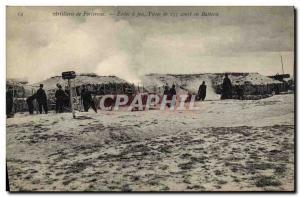 Ansichtskarte AK Militaria Artillerie de forteresse Ecoles a feu Pieces de 155 court en batterie