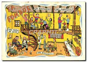 Moderne Karte La fondue Les etudiants Les amoureux Les gars du coin Les Bourgeois