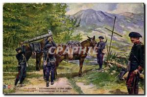 Ansichtskarte AK Militaria Chasseurs Alpins Dechargement d'une piece