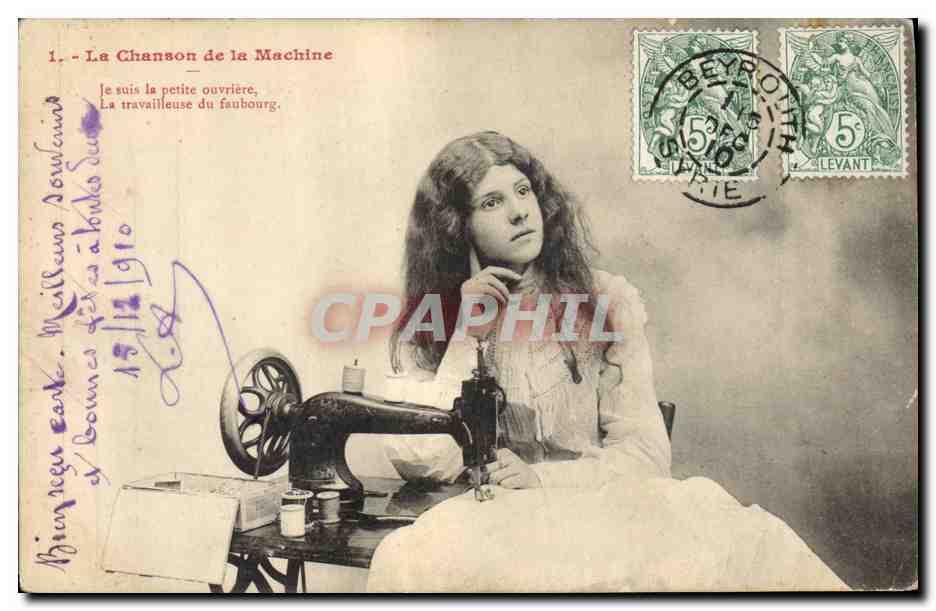 Ansichtskarte AK Femme La chanson de la machine Machine a coudre 0