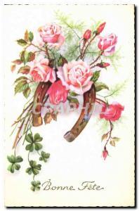 Ansichtskarte AK Bonne fete Fleurs Fer a cheval