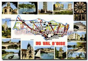 Moderne Karte Val d'Oise Auvers Herblay Sarcelles Argenteuil Viarmes Sannois Pontoise Taverny Beaumont